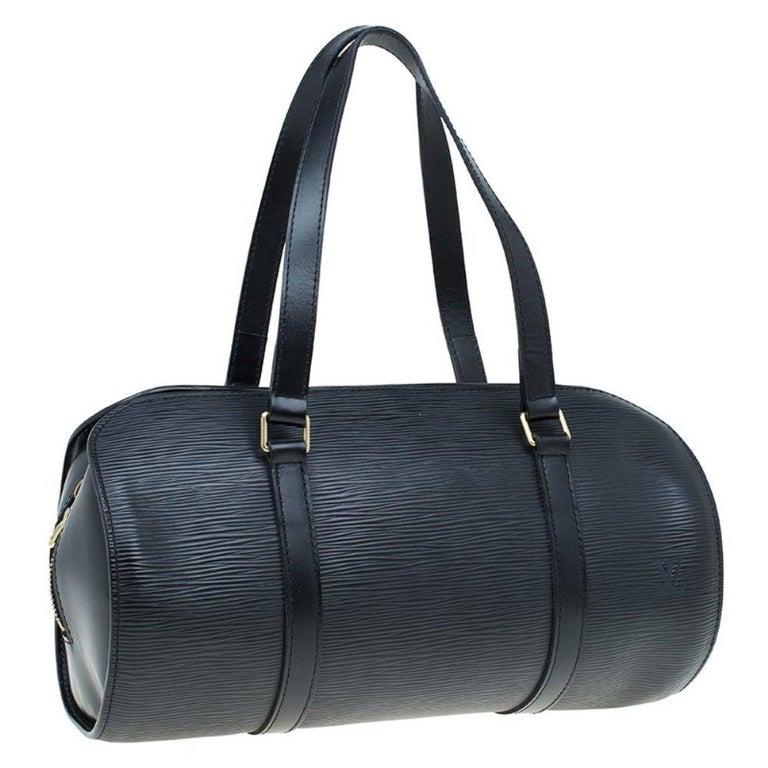 Women's Louis Vuitton Black Epi Leather Soufflot Bag For Sale