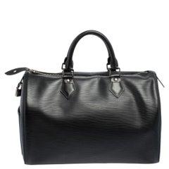 Louis Vuitton Black Epi Leather Speedy 35 Bag