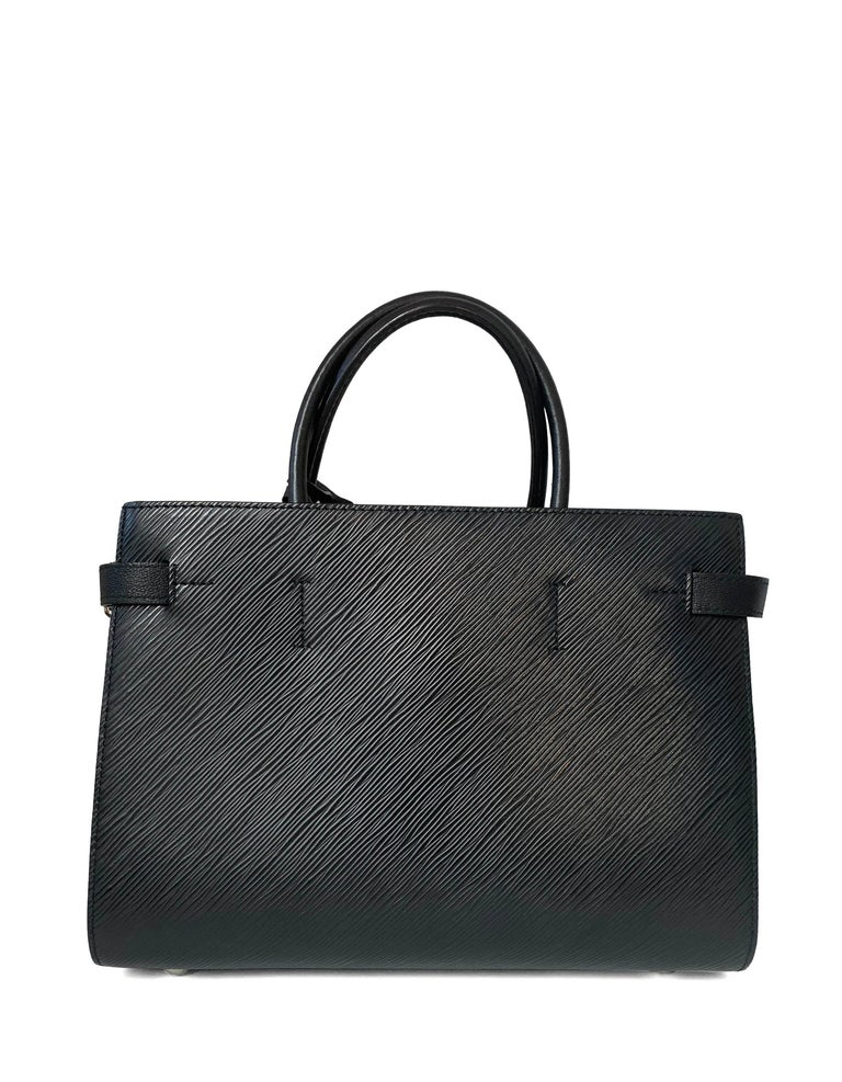 Women's Louis Vuitton Black Epi Leather Twist Lock Tote Bag w/ Shoulder Strap rt. $3,450 For Sale