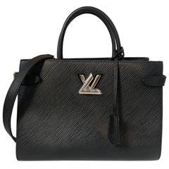 Louis Vuitton Black Epi Leather Twist Lock Tote Bag w/ Shoulder Strap rt. $3,450