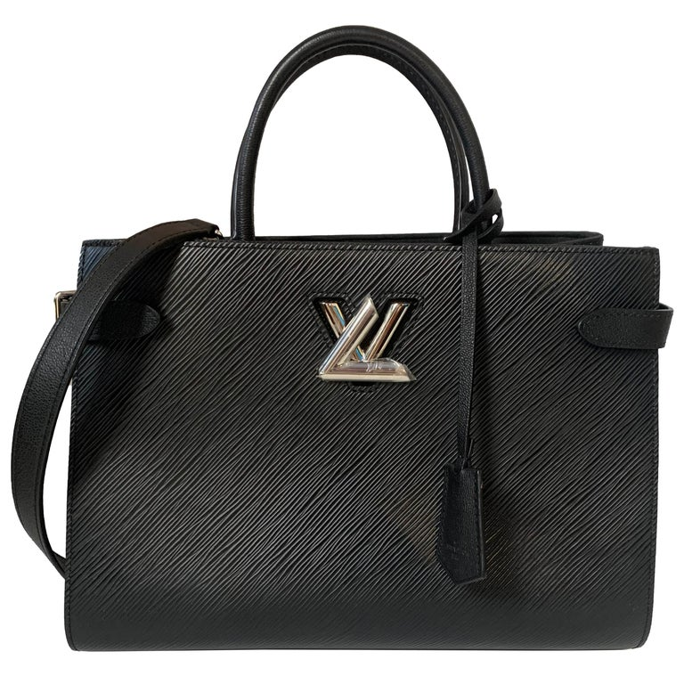 Louis Vuitton Black Epi Leather Twist Lock Tote Bag w/ Shoulder Strap rt. $3,450 For Sale
