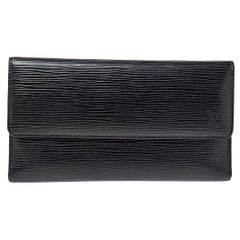 Louis Vuitton Black Epi Porte Tresor International Long Wallet