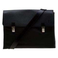 Louis Vuitton Black Fabric and Taiga Leather Saratov GM Messenger Bag
