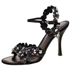 Louis Vuitton Black Floral Applique Criss Cross Ankle Strap Sandals Size 38