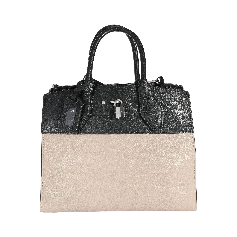 Louis Vuitton Black & Galet Calfskin City Steamer MM