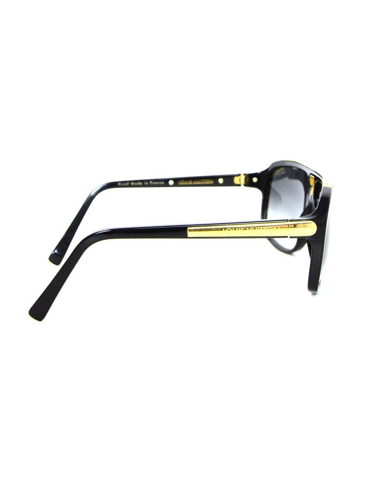 a06980d99a9 Louis Vuitton Black Gold Evidence Aviator Sunglasses w. Box   Case For Sale  1