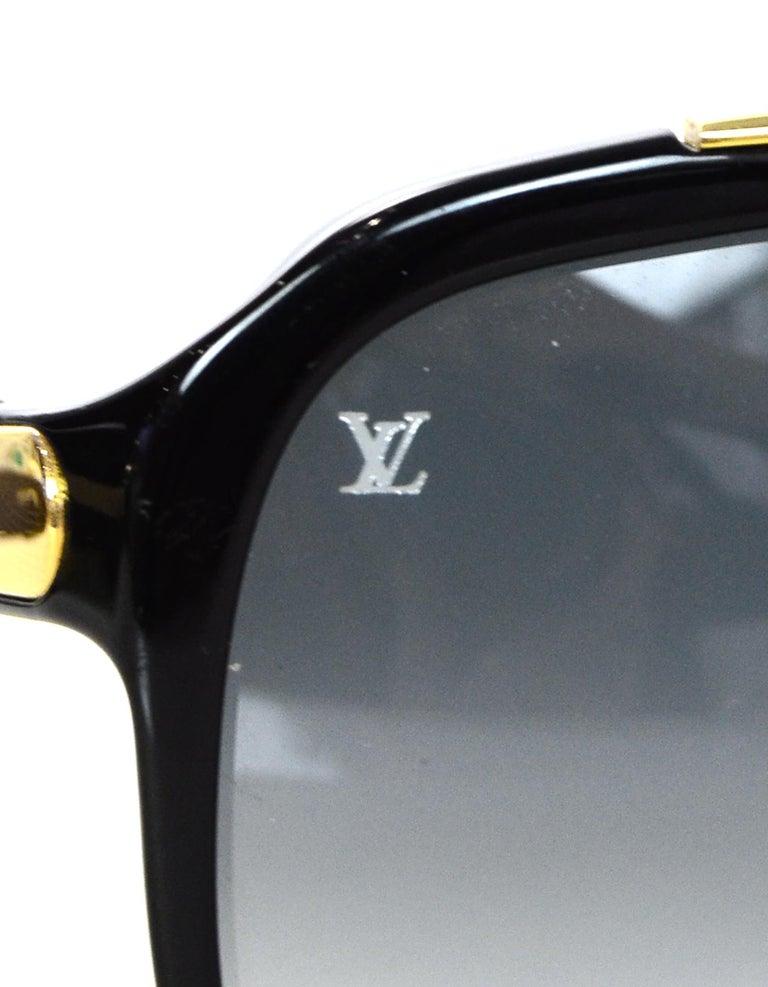 7185736c23d Louis Vuitton Black Gold Evidence Aviator Sunglasses w. Box   Case For Sale  3