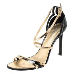 Louis Vuitton Black/Gold Patent Leather Open Toe Ankle Strap Sandals Size 40