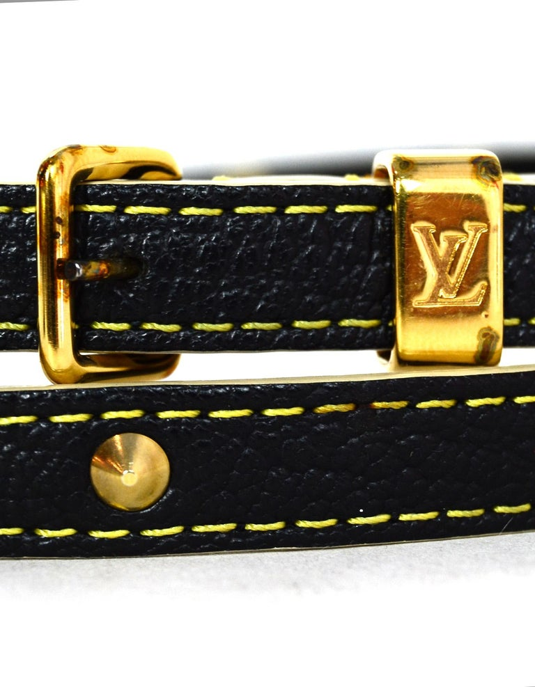 Louis Vuitton Black/Gold Studded Suhali Leather Double Tour Belt sz Medium In Excellent Condition For Sale In New York, NY