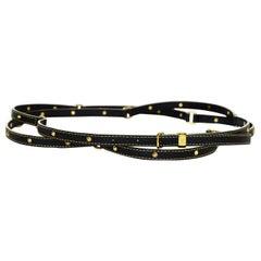 Louis Vuitton Black/Gold Studded Suhali Leather Double Tour Belt sz Medium