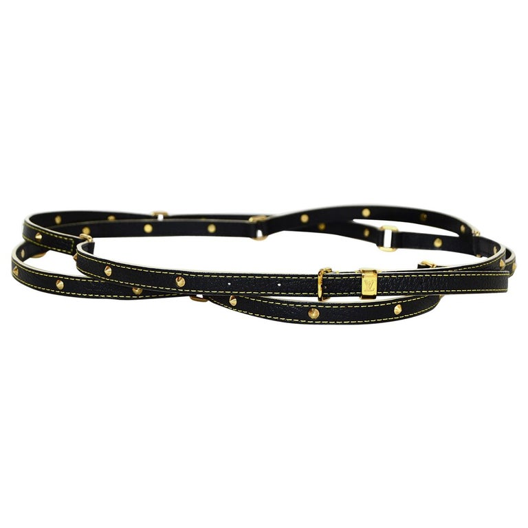 Louis Vuitton Black/Gold Studded Suhali Leather Double Tour Belt sz Medium For Sale