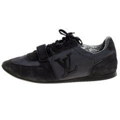 Louis Vuitton Black/Grey Canvas And Suede 'Stardust' Lace Up Sneaker Size 42.5