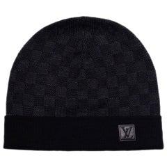 Louis Vuitton Black/Grey Wool Petit Damier Beanie Hat
