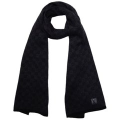 Louis Vuitton Black/Grey Wool Petit Damier Scarf
