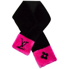 "Louis Vuitton Black/Hot Pink ""LV in the City"" Beaver Fur Compact Scarf"