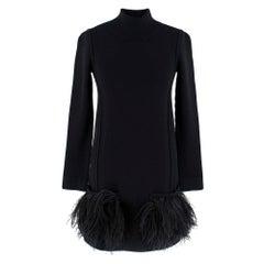Louis Vuitton Black Knit turtleneck Dress with feathers S