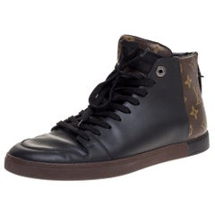 Louis Vuitton Black Leather And Monogram Canvas High Top Sneakers Size 40