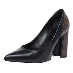 Louis Vuitton Black Leather And Monogram Canvas Rodeo Queen Pumps Size 39