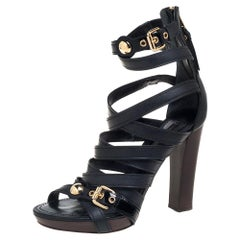 Louis Vuitton Black Leather And Patent Leather Strappy Sandals Size 38