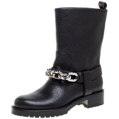 Louis Vuitton Black Leather Chain Outlaw Boots Size 38