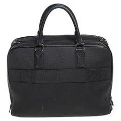 Louis Vuitton Black Leather Double Zip Documents Bag
