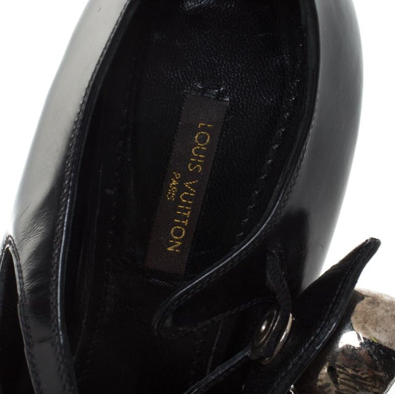 Louis Vuitton Black Leather Embellished Mary Jane Platform Pumps Size 36 For Sale 2