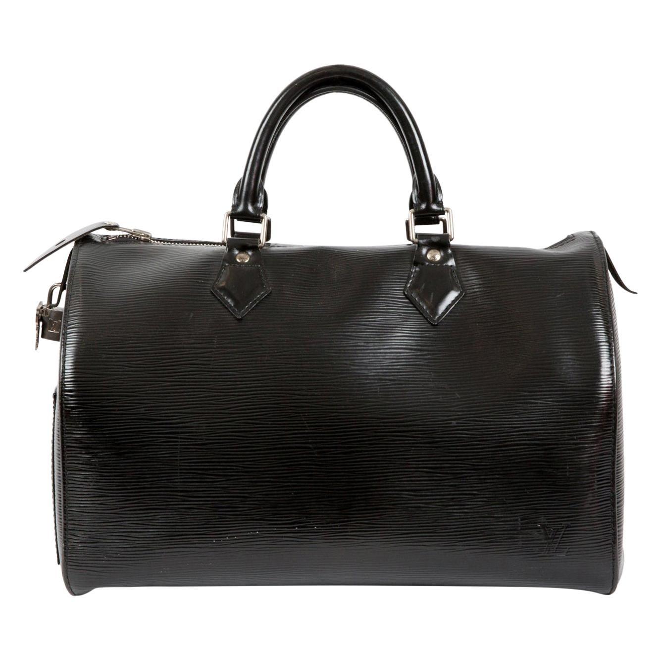 Louis Vuitton Black Leather Epi Speedy 35 Bag