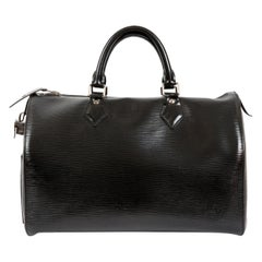 Louis Vuitton Black Leather Epi Speedy 35 Bag