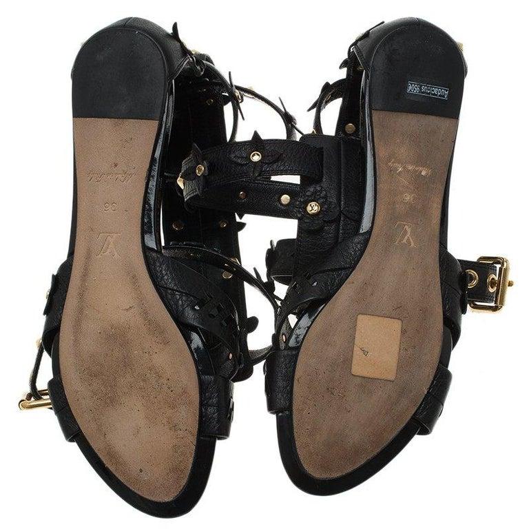 62e54ee47d73 Louis Vuitton Black Leather Fleur Gladiator Sandals Size 36 For Sale ...