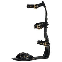 Louis Vuitton Black Leather Fleur Gladiator Sandals Size 36