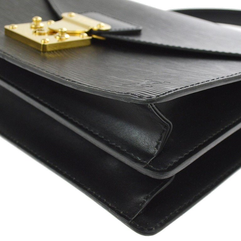 aff35906fae5 Louis Vuitton Black Leather Gold Evening Top Handle Satchel Kelly Style  Flap Bag For Sale 1