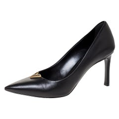 Louis Vuitton Black Leather Heartbreaker Pointed Toe Pumps Size 36.5