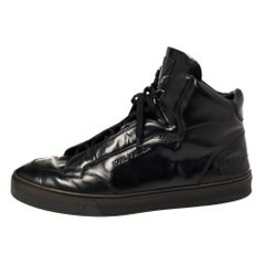 Louis Vuitton Black Leather High Top Sneakers Size 43.5
