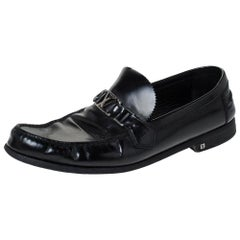 Louis Vuitton Black Leather Hockenheim Slip On Loafers Size 44