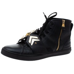 Louis Vuitton Black Leather Karakoram Pattern Punchy Sneaker Boots Size 40