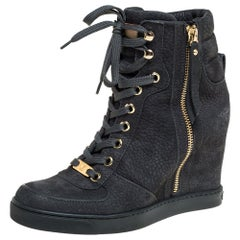 Louis Vuitton Black Leather Lace Up Ankle Boots Size 36