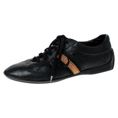 Louis Vuitton Black Leather Lace Up Sneakers Size 42