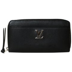Louis Vuitton Black Leather Lockme Zippy Wallet rt. $1,200