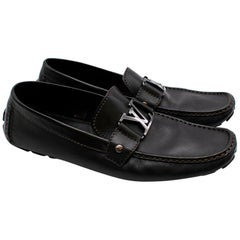 Louis Vuitton Black Leather Logo Loafers  UK11