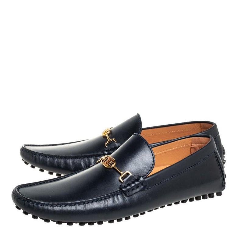 Men's Louis Vuitton Black Leather LV Club Slip On Loafers Size 41 For Sale
