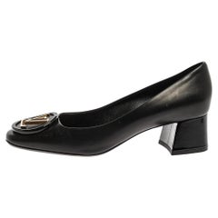 Louis Vuitton Black Leather Madeleine Block Heel Pumps Size 39