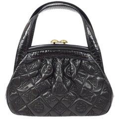 Louis Vuitton Black Leather Monogram Alligator Exotic Top Handle Satchel Bag