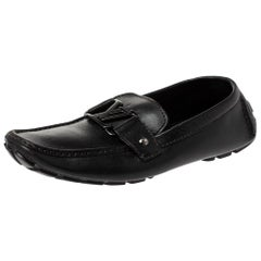 Louis Vuitton Black Leather Monte Carlo Loafers Size 40.5