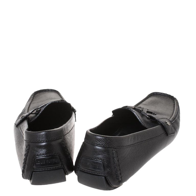 Men's Louis Vuitton Black Leather Monte Carlo Loafers Size 43 For Sale