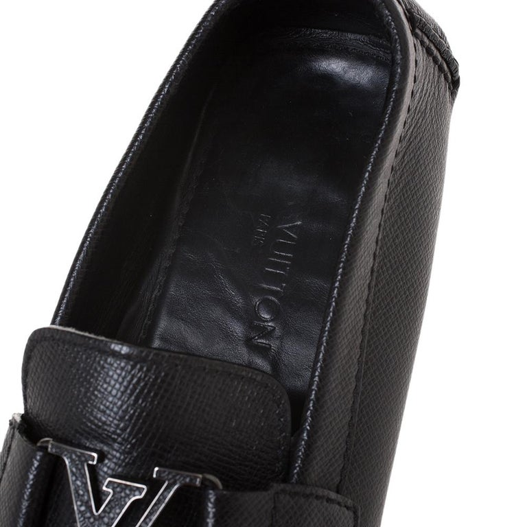 Louis Vuitton Black Leather Monte Carlo Loafers Size 43 For Sale 2