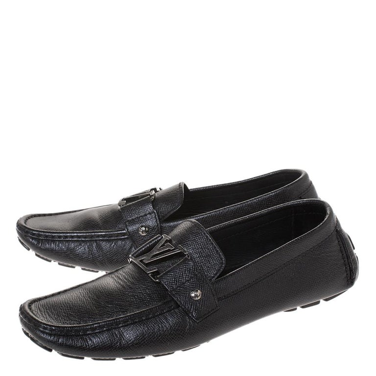 Louis Vuitton Black Leather Monte Carlo Loafers Size 43 For Sale 3