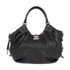 Louis Vuitton Black Leather Perforated Monogram Mahina Bag