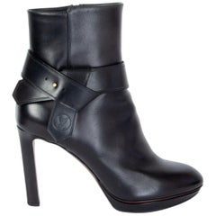LOUIS VUITTON black leather Platform Ankle Boots Shoes 38.5