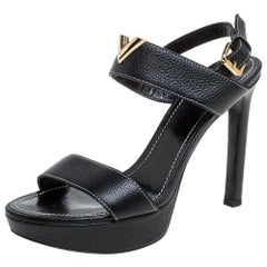 Louis Vuitton Black Leather Platform Ankle Strap Sandals Size 38.5