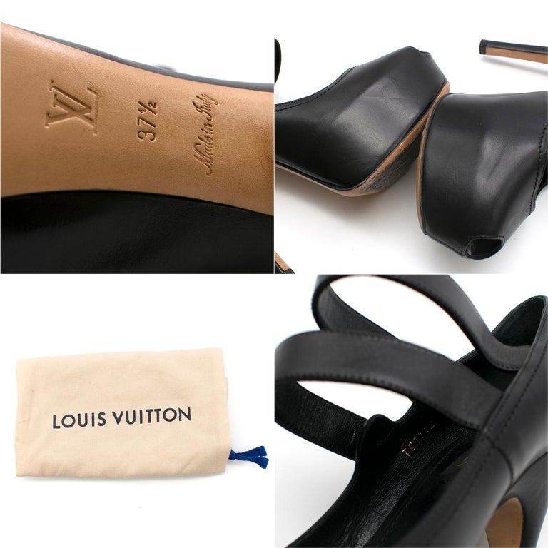 Louis Vuitton Black Leather Platform Mary Jane Pumps SIZE 37.5 5